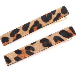 Leopard Bar Clip Set Women Gold Hair Accessory NWT